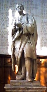 Newton statue in Trinity College Chapel, Cambridge, UK